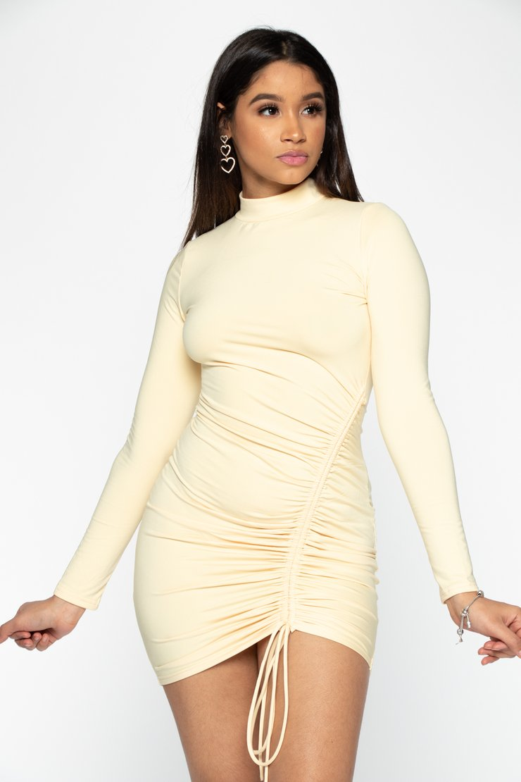 Yellow Long Sleeve Ruched Mini Dress