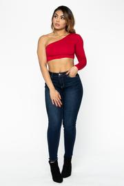 Red Asymmetrical Crop Top
