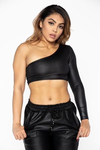 Black Leather Asymmetrical Crop Top