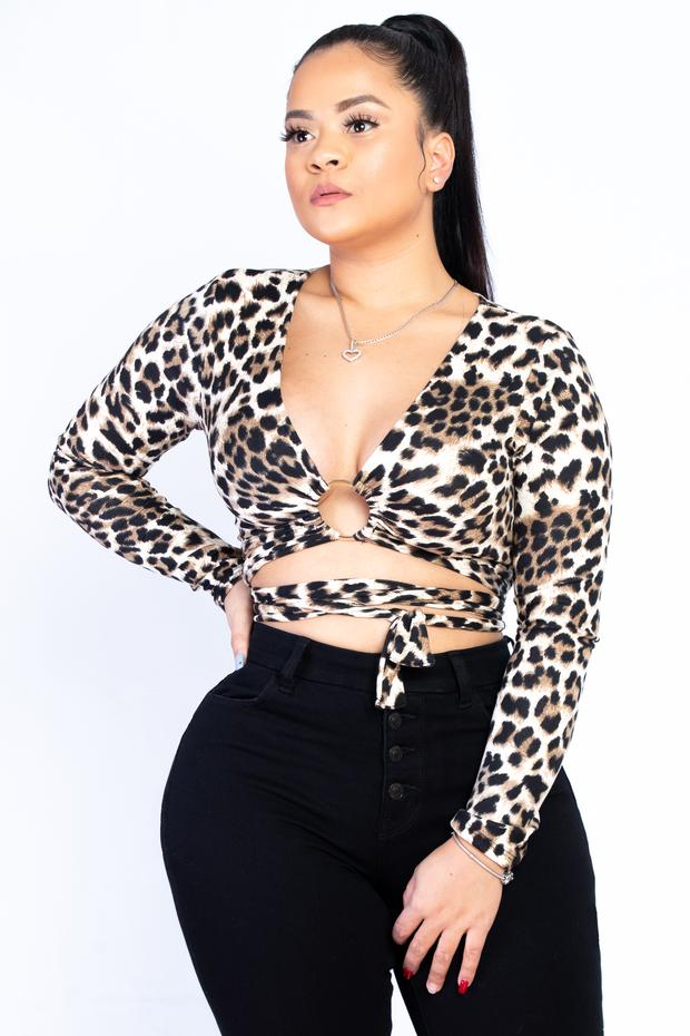 Leopard Wrap Crop Top