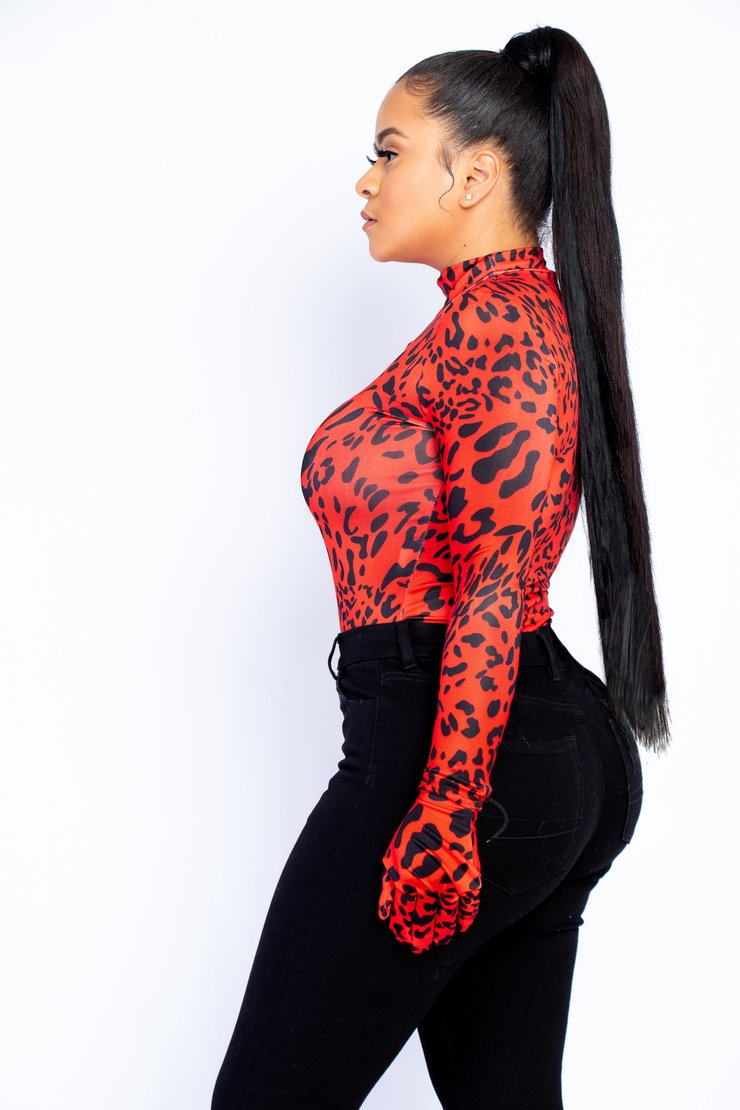 Red Leopard Glove Bodysuit