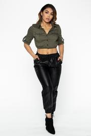 Military Button Up Crop Top